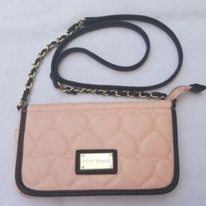 Betsy Johnson Pink Heart Quilted Crossbody Bag
